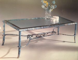Diva 087/T, Tavolino da salotto in ferro battuto e vetro