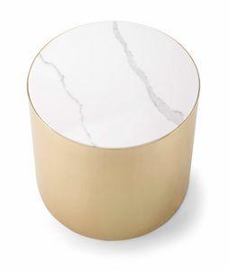 ALEXANDER COFFEE TABLE 084 H45, Tavolino tondo con piano marmo