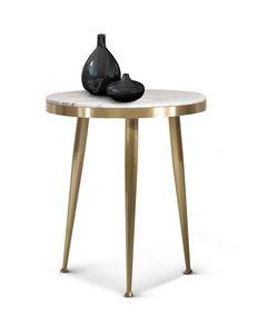 ART. 3342, Tavolino tondo in fusione ottone satinato
