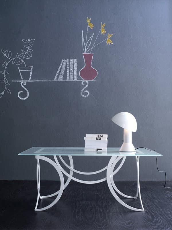Azzurra tavolino, Tavolo moderno in metallo con piano in vetro satinato