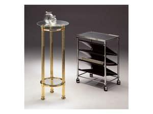 BOHEME 964 , Tavolino tondo in ottone lucido, piano in cristallo