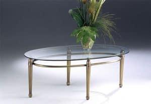 CARTESIO 260, Tavolino ovale in ottone, piano in cristallo per salotto
