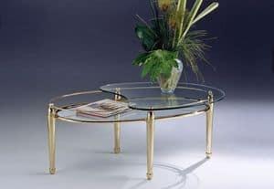 CARTESIO 261, Tavolino ovale in ottone, 2 piani in vetro, per salotto