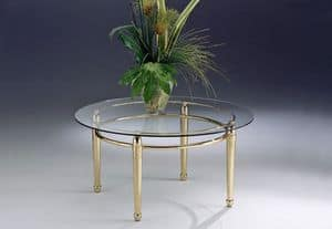 CARTESIO 262, Tavolino basso con struttura lineare in ottone e vetro