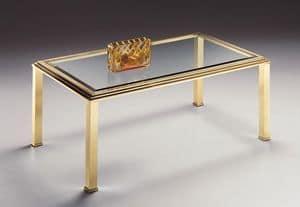 DOMUS 2166, Tavolino rettangolare per salotto, in ottone e vetro