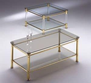 IONICA 664, Tavolino ottone, piano in vetro trasparente, per salotti