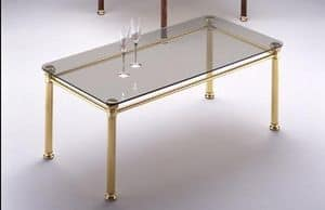 IONICA 666, Tavolino con struttura in ottone lucido, per salotti