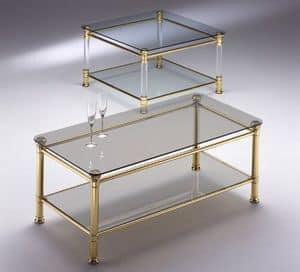 IONICA 670, Tavolino quadrato con 2 piani in cristallo, per reception