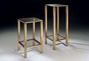 MADISON 3296, Tavolino colonna quadrato, con piano in cristallo trasparente