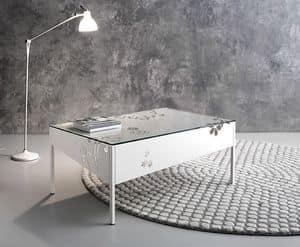 Medea tavolino rettangolare, Tavolo rettangolare in metalllo con piano in vetro