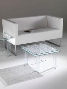 Tavolino 01, Tavolino quadrato, in cristallo, per salotto