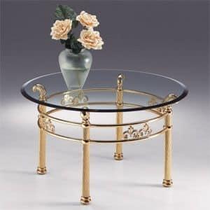 VIVALDI 1062, Tavolino tondo in metallo, cristallo trasparente con bisello