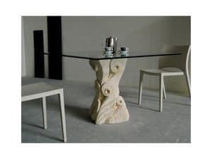 Apollo, Tavolo con base in pietra di Vicenza scolpita