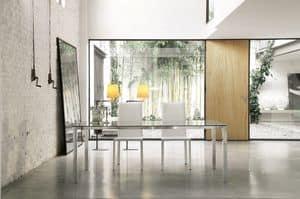 dl50 new york, Tavolo da pranzo rettangolare, struttura in alluminio