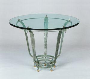HF2015TA-140, Tavolo in ferro con piano in cristallo
