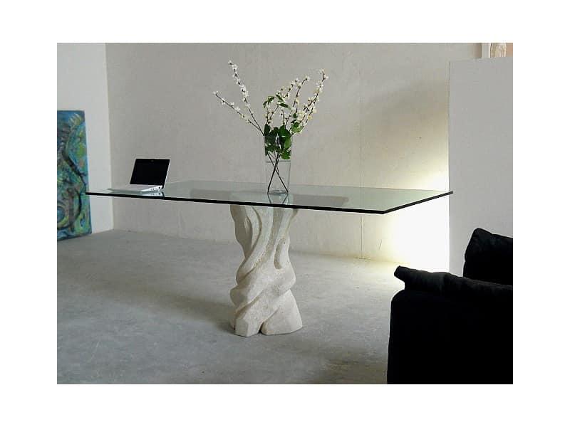 Mezzaluna cherry, Tavolo con piano in cristallo e struttura in pietra