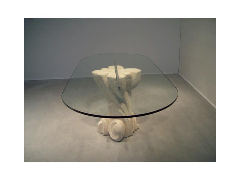 Nuoveau, Tavolo ovale con piano in cristallo, base in pietra