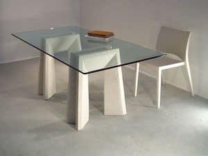 Riflesso tavolo, Tavoli da pranzo con piano in vetro e gambe in pietra