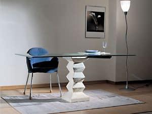 Stone, Tavolo con piano in cristallo, colonna portante in pietra