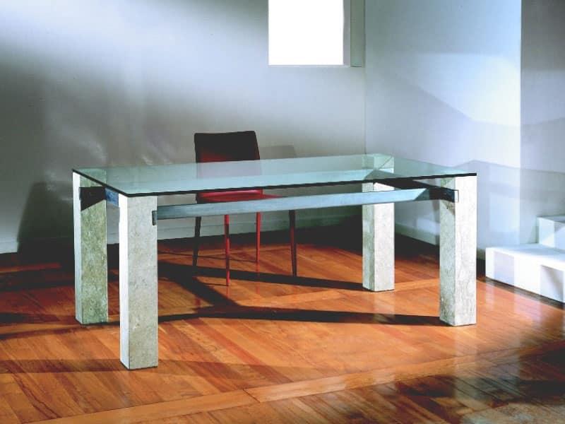 Ulisse, Tavolo rettangolare con struttura in pietra, per casa e ufficio
