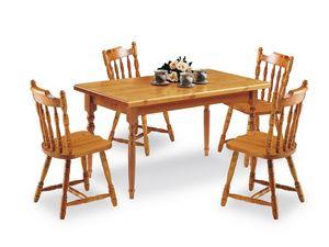 T/140, Tavolo rettangolare in legno di pino, in stile rustico