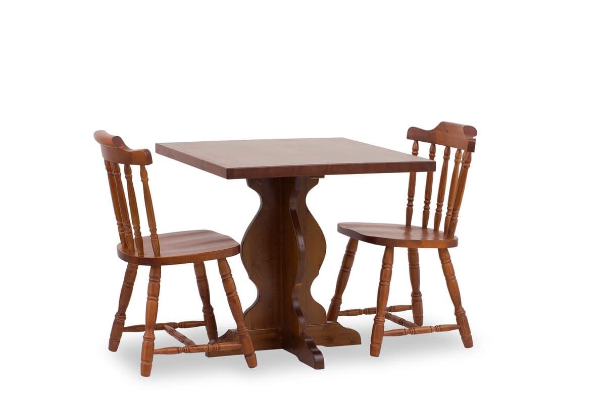 T/410, Tavolo in arte povera, in legno massello, per cucina