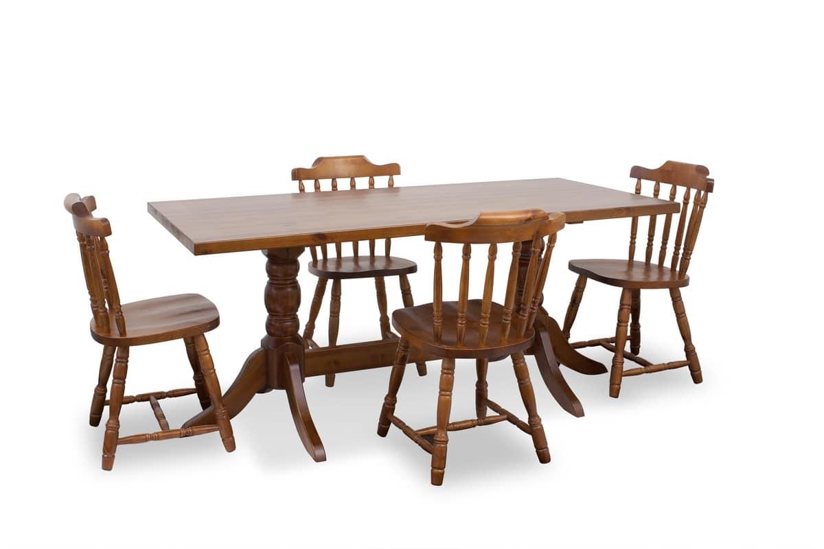 Tavolo 180x80, Tavolo rustico con base tornita, in pino massiccio
