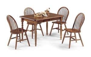 Tavolo 4 gambe 130x80, Tavolo rettangolare in legno di pino con finitura in noce