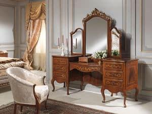 Art. 940 toilette, Toilette con portaoggetti, legno di noce, classico di lusso