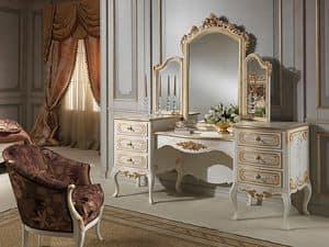 Art. 941 dressing table, Toilettes con specchio, stile classico, legno finitura avorio