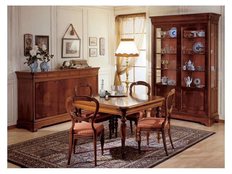 Art. 279 vetrina '800 Francese, Vetrina in legno intagliato a mano, per sala pranzo