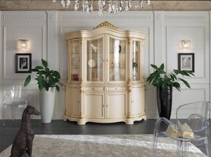 Brianza cristalliera 4 porte laccata, Cristalliera classica, in legno laccato