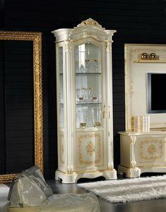Brianza vetrina 1 porta con dipinto, Vetrina classica intagliata