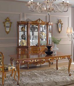 Chippendale cristalliera 4 porte, Cristalliera con intagli decorativi
