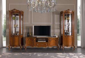 Chippendale vetrina 1 porta, Vetrina per salotto stile classico