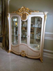 Isabelle vetrina a 3 ante, Vetrina con particolari in foglia oro