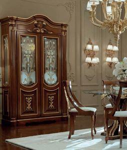 Luigi XVI Art. VE01/L/140, Vetrina con ante decorate a mano con oro effetto rilievo