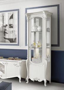 Puccini Art. 7603, Raffinata vetrina in legno laccato bianco