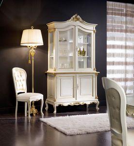 Regency cristalliera 2 porte laccata, Cristalliera per sala da pranzo classica
