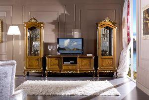 Regency vetrina 1 porta, Vetrina intagliata, stile classico