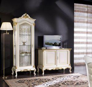 Regency vetrina 1 porta tutta vetro, Vetrina in stile classico