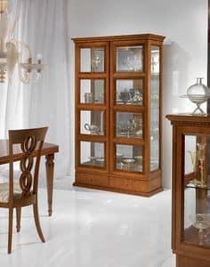 V478 Quadrotti vetrina, Vetrina classica per salotto, due ante, per Soggiorno