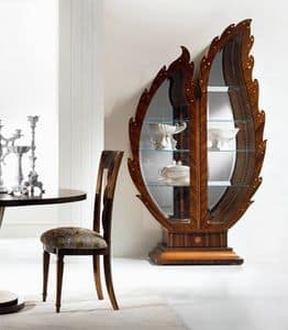 VE37 Pois vetrina, Vetrina in legno, fondale a specchio, vetrina illuminata