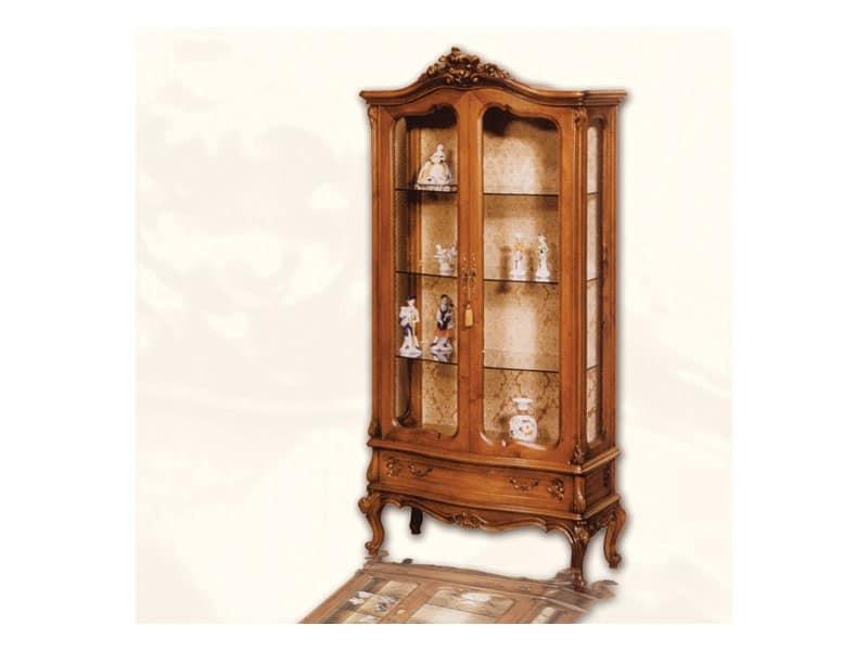 Vetrina art. 06, Vetrina in legno con ante, stile Luigi XV