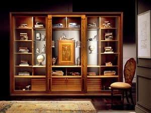 VL661 Le Cornici vetrina, Vetrina libreria in legno con intarsi, arredo in stile