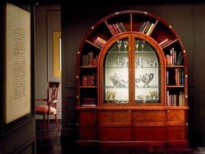 VL671 Arco due mobile, Libreria ad arco, in palissandro intarsiato, illuminazione interna