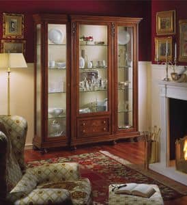 Voltaire vetrina 3 ante, Vetrina classica di lusso con luce interna, in noce