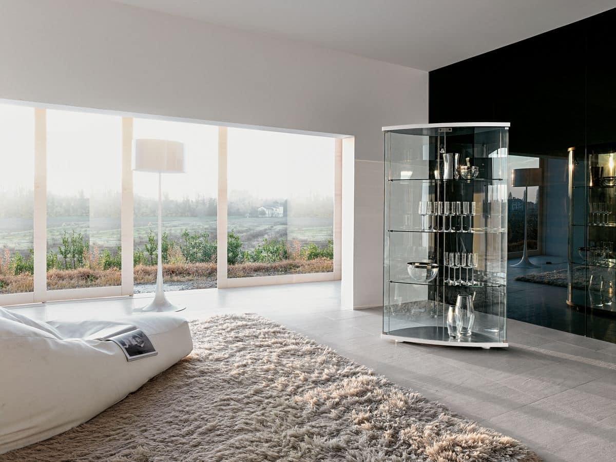 GRACÌA, Mobile espositore in vetro curvato, per salotti moderni