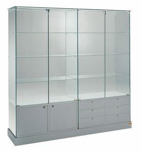 Laminato 160/CM, Ampia vetrina con ante e cassetti