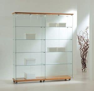 Laminato Light 16/18L, Teche in vetro, base con ruote, ripiani in cristallo, faretti